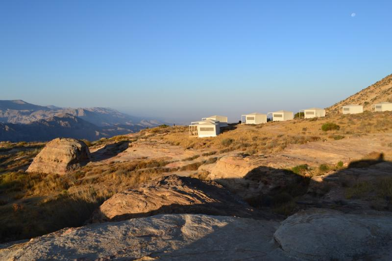 Just after sunrise at a camp in the Dana Biosphere