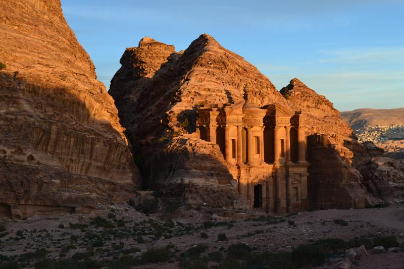 "Petra's ""monastery"" basking in the golden light just before sunset"