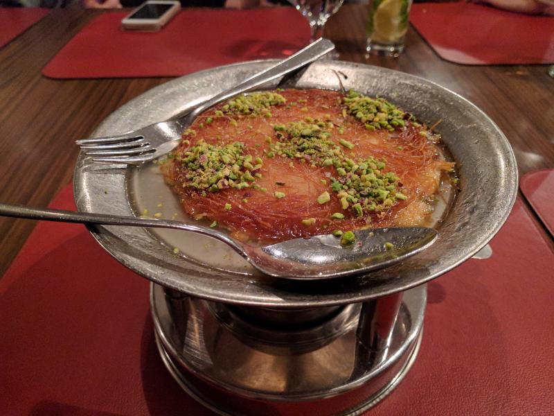 A small portion of kanafeh at a restaurant in Amman