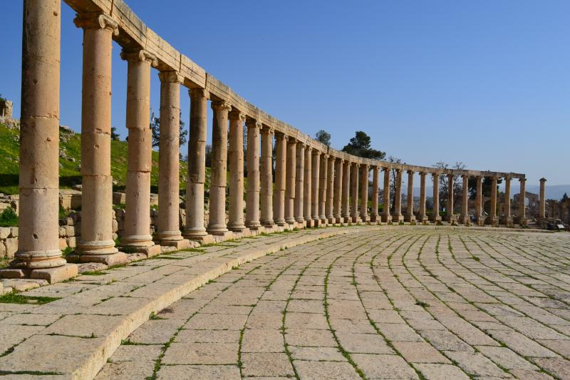 Row of columns at the Oval Forum in Jerash